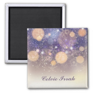 Elegant Personalized Snowflakes | Magnet