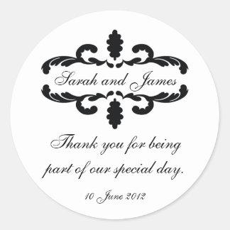 Elegant Personalized Thank You Wedding Sticker