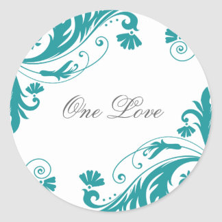 Elegant Petrol Wedding Stickers
