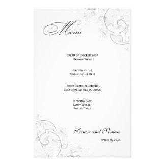 Elegant Pewter Floral Wedding Menu