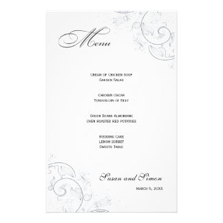 Elegant Pewter Floral Wedding Menu Personalised Stationery