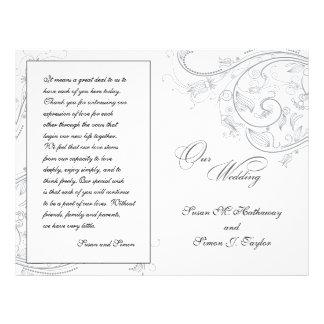 Elegant Pewter Floral Wedding Program 21.5 Cm X 28 Cm Flyer