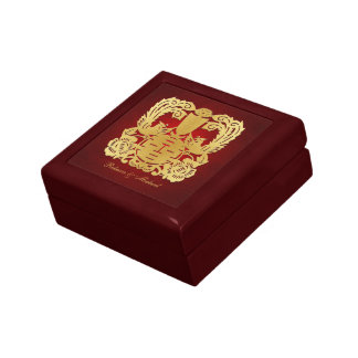 Elegant Phoenix Gold Chinese Double Happiness Small Square Gift Box