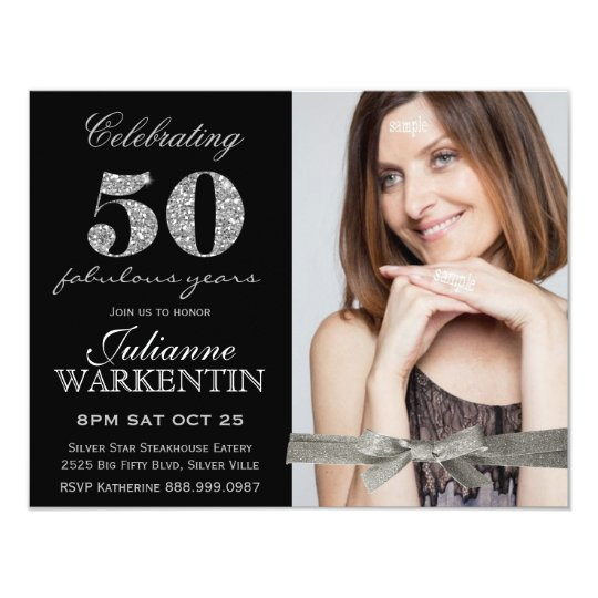 Elegant Photo 50th Birthday Celebration Card