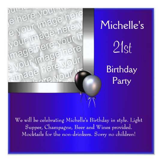 Elegant Photo Blue Silver Balloon 21st Birthday Card