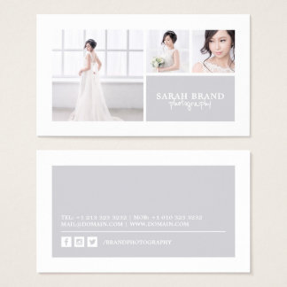 Elegant Photo Grid Photographer Business Card