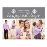 Elegant Photo Happy Holidays Grey Stripe Postcard