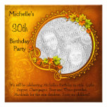 Elegant Photo Orange Floral 30th Birthday Personalised Announcements