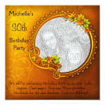 Elegant Photo Orange Floral 30th Birthday Personalised Announcements