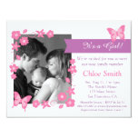 Elegant Photo Pink butterfly baby shower party 11 Cm X 14 Cm Invitation Card