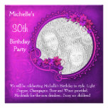 Elegant Photo Pink Purple Floral 30th Birthday Personalised Invitations