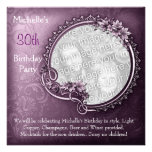 Elegant Photo Purple Floral 30th Birthday Personalized Announcement
