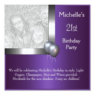 Elegant Photo Purple Silver Balloon 21st Birthday 13 Cm X 13 Cm Square Invitation Card
