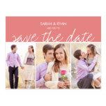 Elegant Photo Save the Date Pink Stripe Postcard