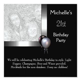 Elegant Photo Silver Black Balloon 21st Birthday 13 Cm X 13 Cm Square Invitation Card
