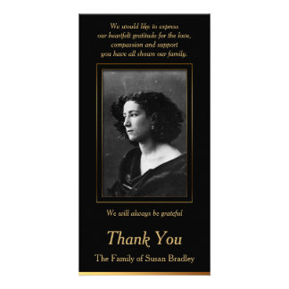 Elegant Photo Sympathy Thank You with gold piping Customized Photo Card