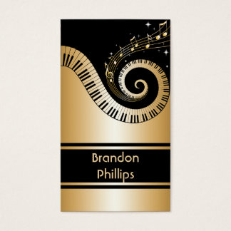 Elegant Piano Keys and Music Notes Business Card