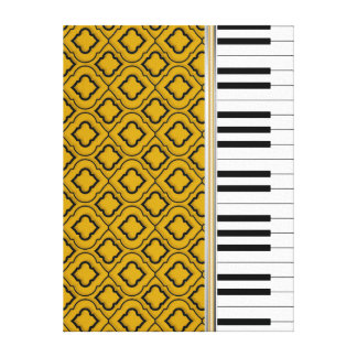 Elegant Piano Keys with Black Quatrefoil on Gold Canvas Print