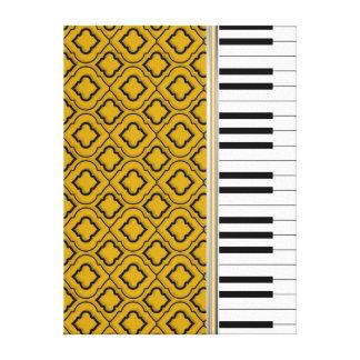 Elegant Piano Keys with Black Quatrefoil on Gold Canvas Print