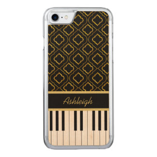 Elegant Piano Keys with Gold Quatrefoil Carved iPhone 8/7 Case