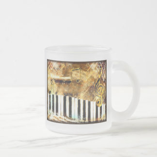 Elegant Piano Music & Notes Frosted Glass Coffee Mug