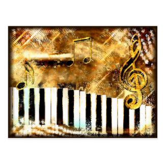 Elegant Piano Music & Notes Post Card