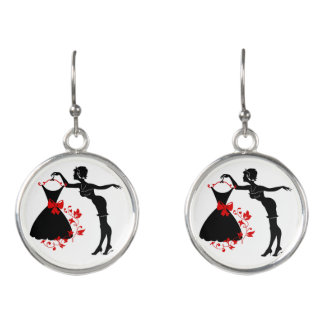 Elegant pin up stylish woman silhouette with dress earrings