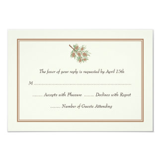 Elegant Pine Cone Wedding RSVP Cards 9 Cm X 13 Cm Invitation Card