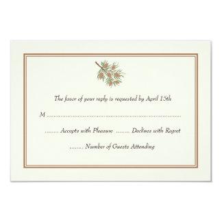 Elegant Pine Cone Wedding RSVP Cards 9 Cm X 13 Cm Invitation Card