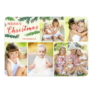 Elegant Pine Five Photo Holiday Photo Card 13 Cm X 18 Cm Invitation Card