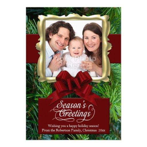 Elegant Pine/Red/Gold Frame Photo Christmas Card