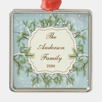 Elegant Pine Tree  Branche Dated Family Christmas Silver-Colored Square Decoration