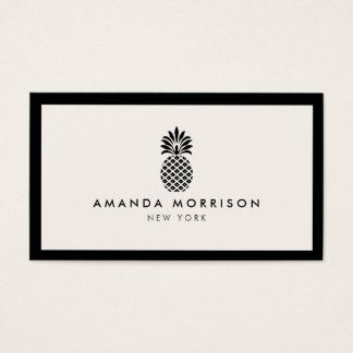 Elegant Pineapple Luxury Boutique Black/Ivory Business Card