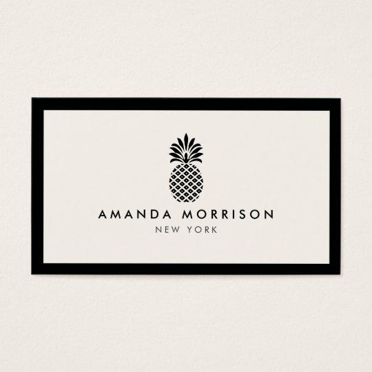 Elegant Pineapple Luxury Boutique Black/Ivory Business Card