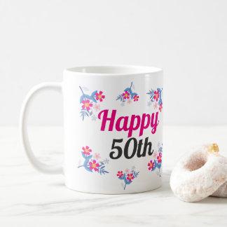 Elegant Pink  50th Birthday Gift Mug