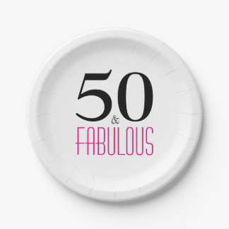 Elegant Pink 50th Birthday Party Paper Plate