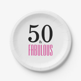 Elegant Pink 50th Birthday Party Paper Plate 7 Inch Paper Plate