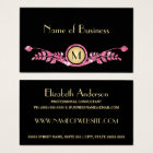 Elegant Pink and Black Faux Glitz Floral Monogram Business Card