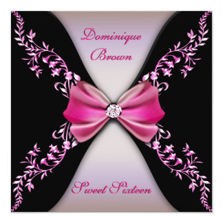 Elegant Pink and Black Invite with Diamond Bow