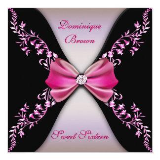 "Elegant Pink and Black Invite with Diamond Bow 5.25"" Square Invitation Card"