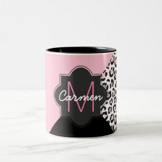 Elegant Pink and Black Leopard Trifold Monogram Two-Tone Coffee Mug