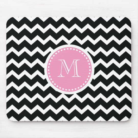 Elegant Pink and Black Retro Chevron Monogram Mouse
