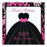 Elegant Pink and Black Sweet Sixteen  with diamond 13 Cm X 13 Cm Square Invitation Card