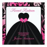 Elegant Pink and Black Sweet Sixteen  with diamond 13 Cm X 13 Cm Square Invitation Card