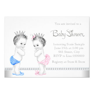 Elegant Pink and Blue Twins Baby Shower Card