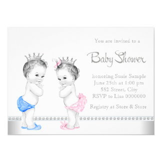 """Elegant Pink and Blue Twins Baby Shower 5.5"""" X 7.5"""" Invitation Card"""