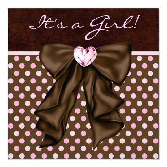 Elegant Pink and Brown Baby Girl Shower Card