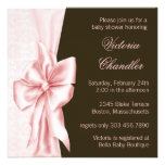 Elegant Pink and Brown Damask Baby Girl Shower Personalised Invitation