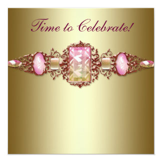 Elegant Pink and Gold Birthday Party 13 Cm X 13 Cm Square Invitation Card