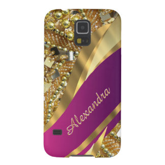 Elegant pink and gold bling personalized galaxy s5 cases
